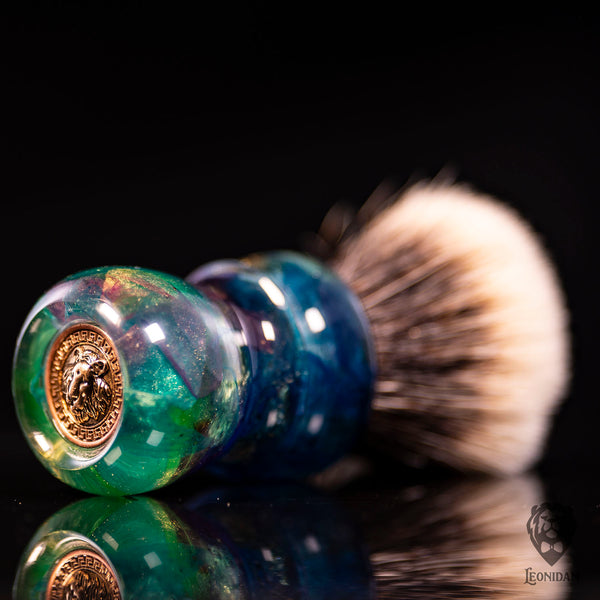 "Handmade shaving brush ""Dolce Vita"", with mixed colorful resin handle."