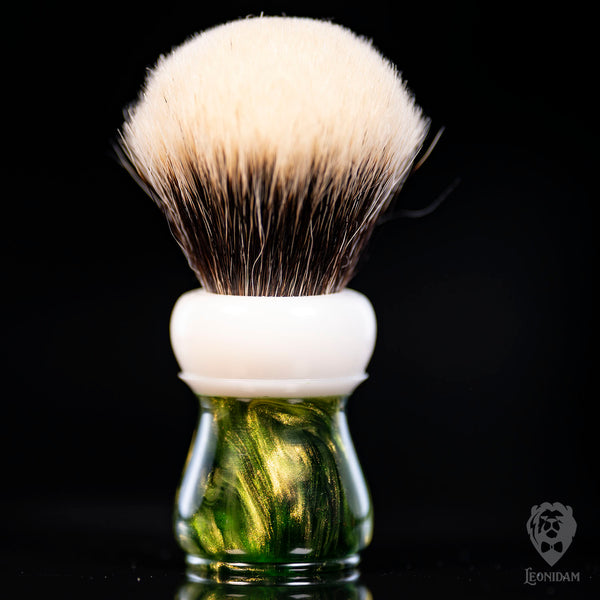 "Handmade Shaving Brush ""Elatha"" in polished green and white resin"