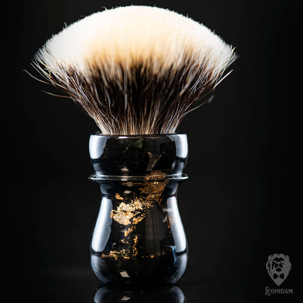 "Handmade shaving brush ""Loki"" in stabilized black wood and clear hand poured resin."