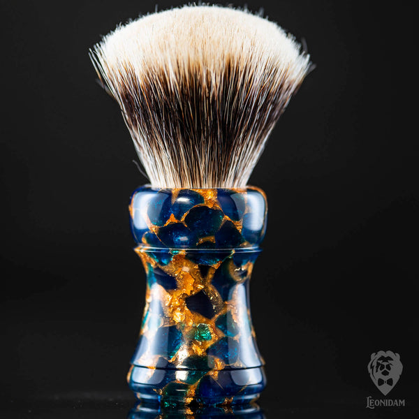 "Handmade Shaving Brush ""Molten Sapphire"" in polished dark blue and gold resin"