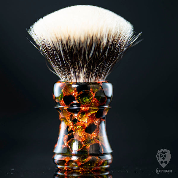 "Handmade Shaving Brush ""Selvans"" in polished green and copper resin."