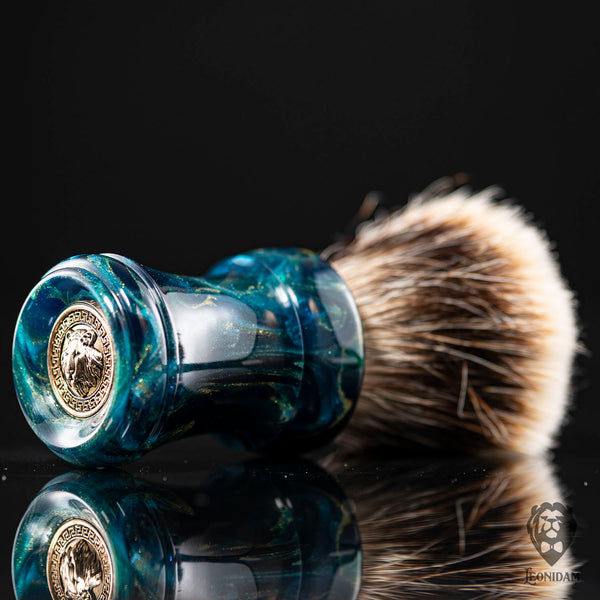 "Handmade Shaving Brush ""Skyfall"" in polished deep blue and gold resin"
