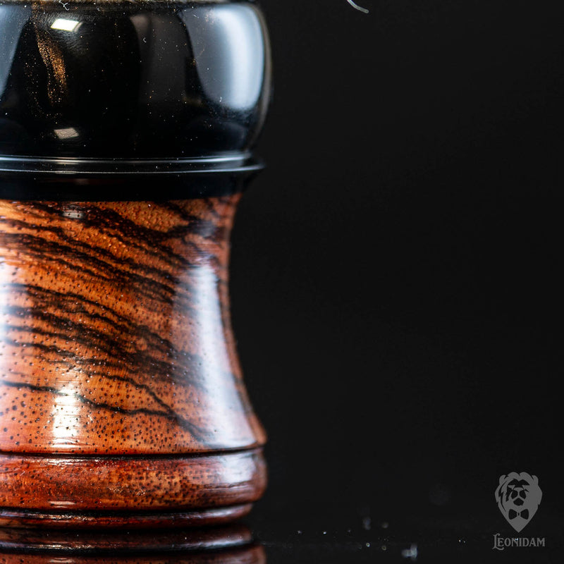 "Closeup of Wooden Shaving Brush ""Venator"" in stabilized zebrano and dark resin"