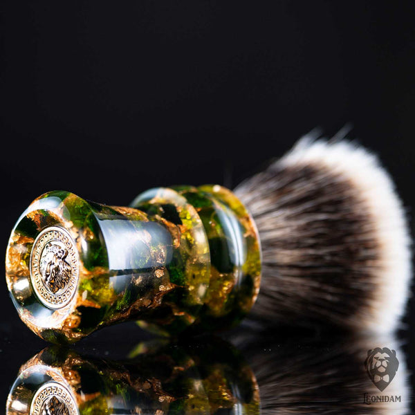 "Handmade Shaving Brush ""Vertigo"" in polished green and gold resin."