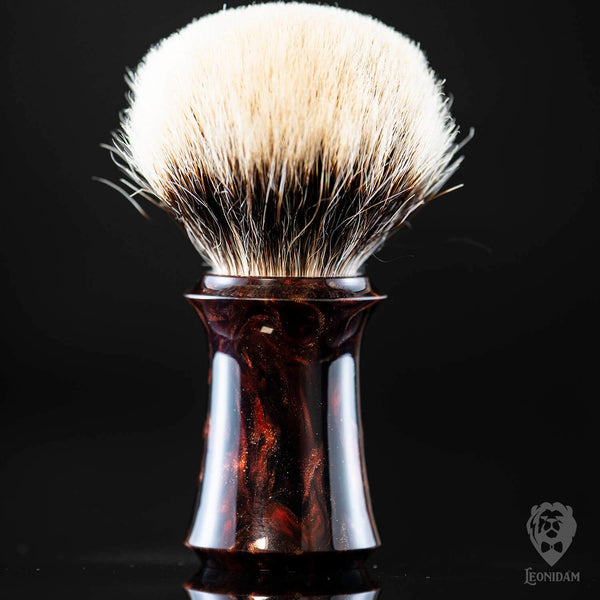 "Handmade Shaving Brush ""Vlad"" in polished dark red and black resin"