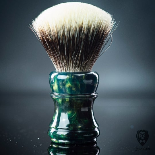 "Handmade Shaving Brush HANDLE ""Event Horizon"" in polished deep green and gold resin"