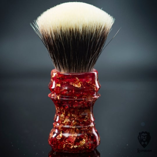 "Handmade Shaving Brush HANDLE ""Fireblast"" in polished red resin with gold flakes"