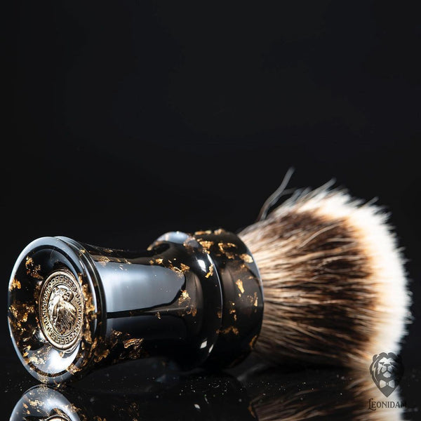 "Handmade shaving brush ""Aurelio"", with black, hand poured resin handle and gold flakes."