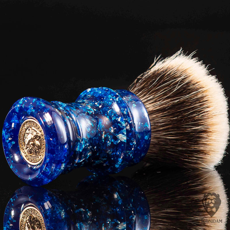 "Handmade Shaving Brush ""Blizzard"" in polished blue resin with silver flakes"