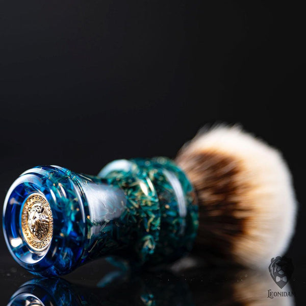 "Handmade Shaving Brush ""Copacabana"" in polished mixed blue resin"