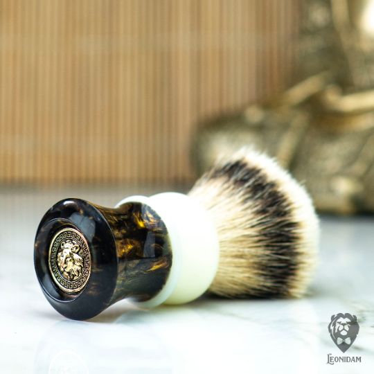 "Handmade Shaving Brush ""Epsilon"" in polished brown and white hand poured resin"