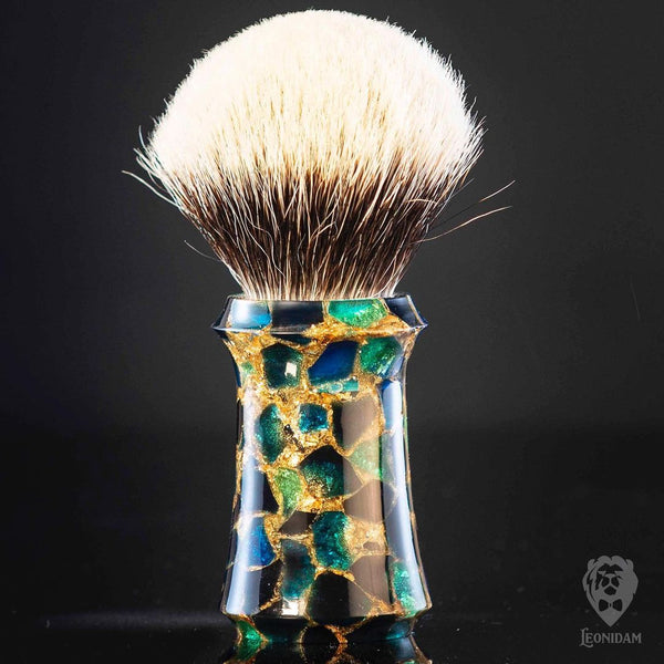 Handmade Shaving Brush Horus with blue and gold handpoured resin
