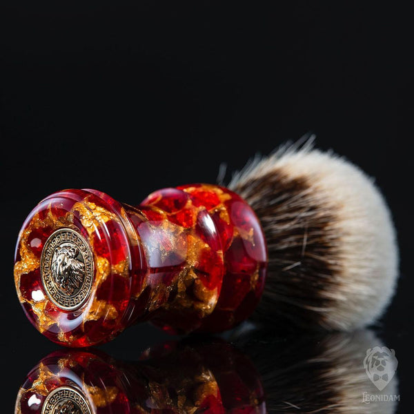 "Handmade Shaving Brush ""Krypto"" in polished red and gold resin"