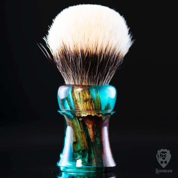 "Handmade shaving brush ""Laguna"", with mixed resin and stabilized wood handle."