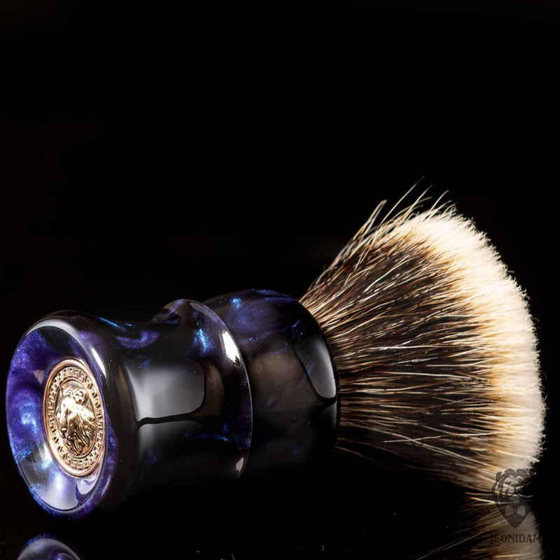 "Handmade Shaving Brush ""Nox"" in polished black and blue resin"