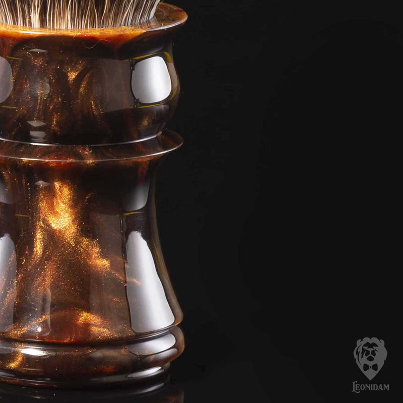 "Closeup of Handmade Shaving Brush ""Sultan"" in polished reddish brown and gold resin"