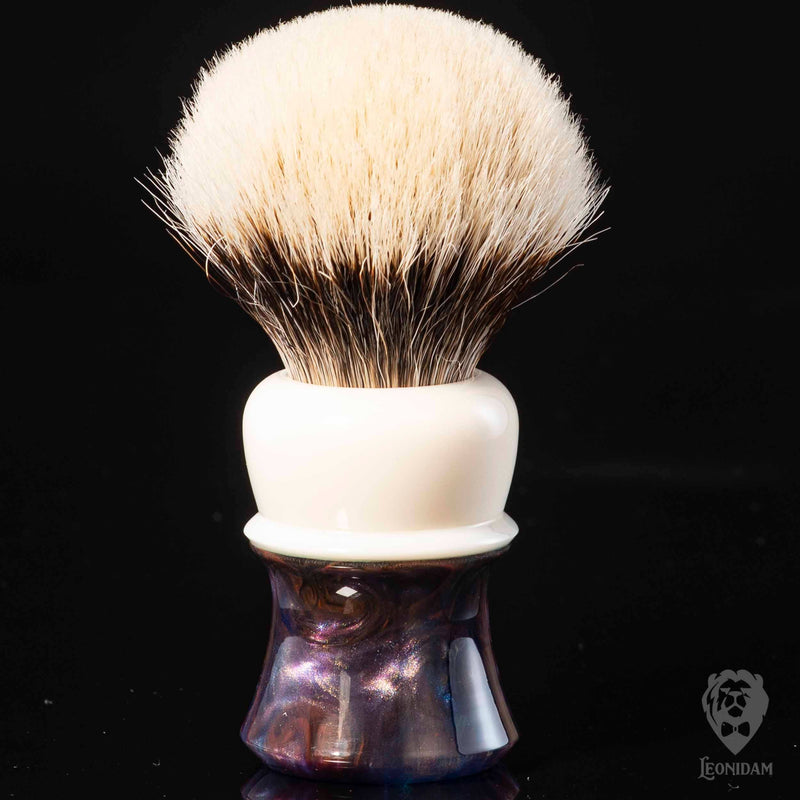 "Handmade Shaving Brush ""Medivh"" in polished white, blue and purple resin"