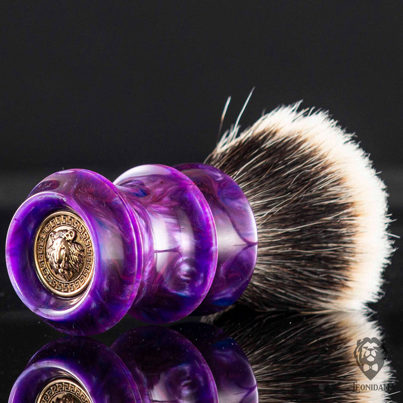 "Handmade Shaving Brush ""Mimante"" in polished purple and blue resin"