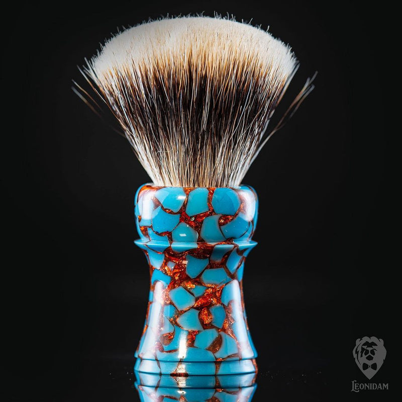 "Handmade Shaving Brush ""Molten Turquoise"" in polished turquoise and copper resin"