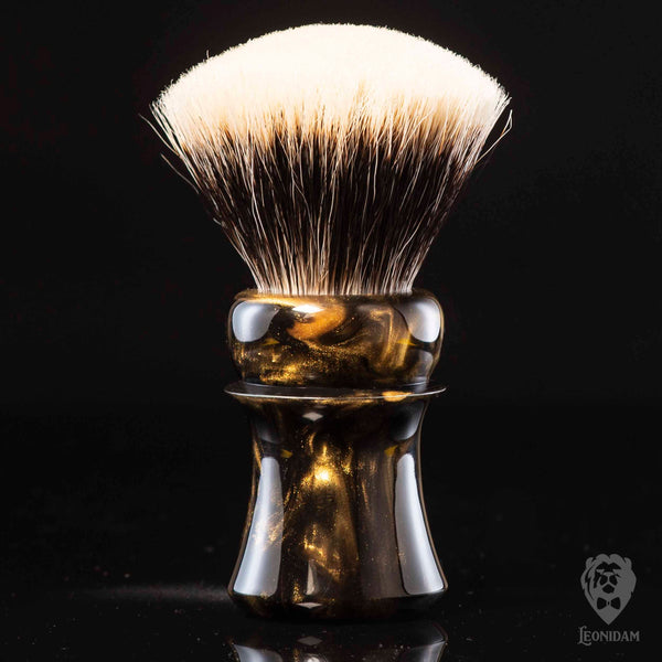 "Handmade Shaving Brush ""Oblivion"" in polished black and gold resin"