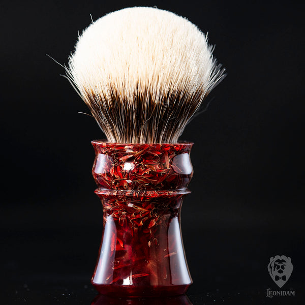 "Handmade Shaving Brush ""Flamengo"" in polished mixed red resin"