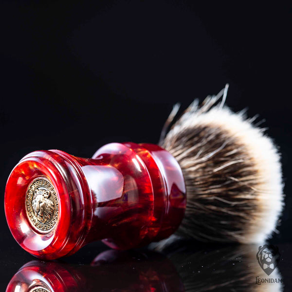 "Handmade Shaving Brush ""Furius"" in polished red and gold resin"