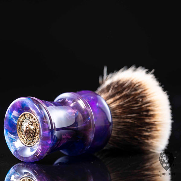 "Handmade Shaving Brush ""Purple Rain"" in polished purple, blue and silver resin"