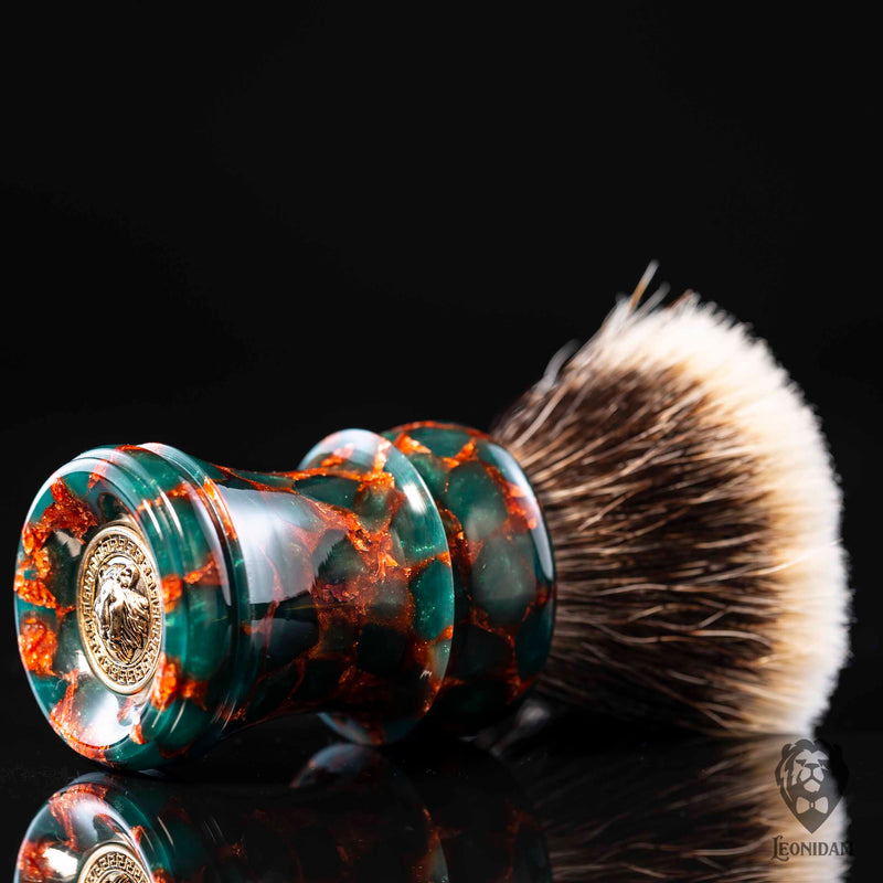 "Handmade Shaving Brush ""Saurus"" in polished green and copper resin"