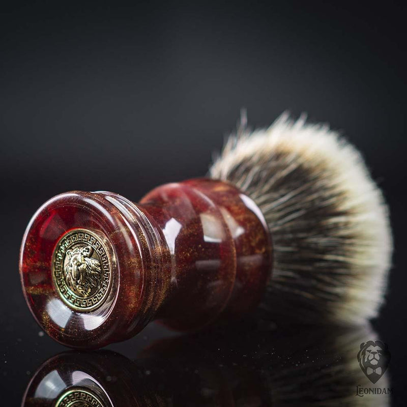 "Handmade Shaving Brush HANDLE ""Casanova"" in polished red and gold resin"