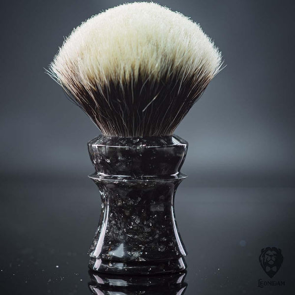 "Handmade Shaving Brush HANDLE ""Tyrael"" in polished black and silver resin with silver flakes"