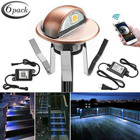 WiFi Deck Lights, Outdoor Recessed Step Stair Blue LED Lighting