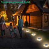 Solar Ground Lights Outdoor, Solar Deck Disk Lawn Lights Waterproof 8 Led Lights for Garden Driveway Dock Yard Path Road Marker Swimming Pool Lighting