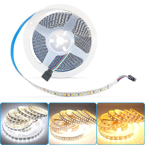16.4ft/5M Tunable White LED Light Strip, 2700K-6000K Warm White & Cool White 12V Flexible led Strip, 2835 900LEDs (Not included power adapter and led controller)
