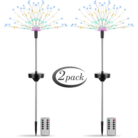 2X Solar Powered Garden Led Starburst Light Firework Lamp Plant Path Fairy Light