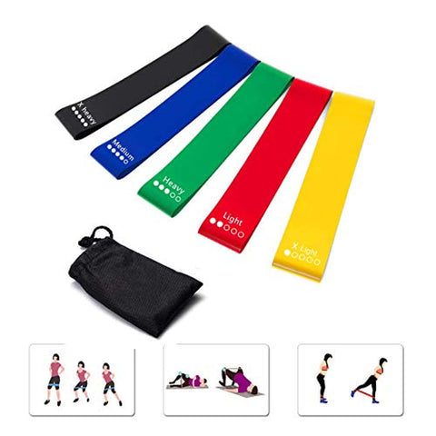 GEYUEYA Home Resistance Bands for Legs and Butt Set of 5 Exercise Bands Loops 12 inch with Carry Bag