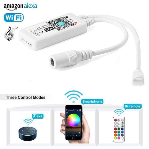 IR/RF Remote Android IOS Smartphone APP WIFI LED RGB/RGBW Controller for  LED Light Strip 12V 24V By Alexa Google Home IFTTT