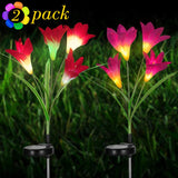INDARUN Waterproof Solar Garden Stake Lights, Outdoor 7-Colors Changing Decorative Solar Flower Lights with 4 Lily Flowers, Flexible Stems and Leaves for Yard, Pathway, Patio, Lawn, Pond - 2 Pack