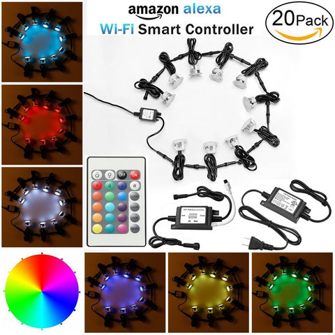 "WiFi LED Deck Lights Kits, FVTLED 20pcs Φ1.77"" WiFi Controller Low Voltage LED Step Lights Kit Work with Alexa Google Home WiFi Wireless Smart Phone LED RGB Inground Lights"