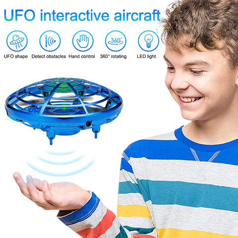 UFO Flying Toys Drones for Kids, Mini Drones Hand Controlled Flying Ball Drone with 2 Speed and LED Light for Kids, Boys and Girls Toys, Perfect for Birthday Gift for Kids (Blue)
