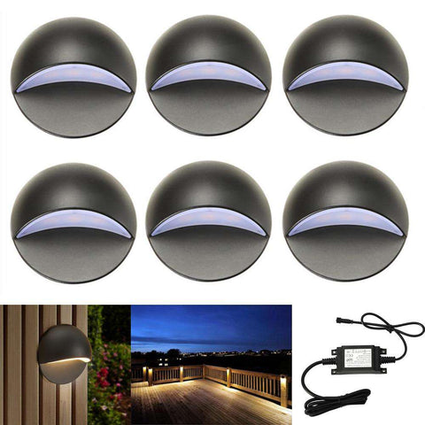 6Pcs/set Black Half Moon Outdoor Garden Yard Pathway Plinth Corner LED Deck Stairs Step Fence Post Lights Kit