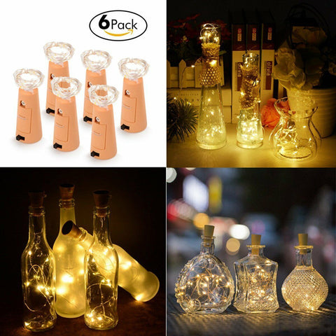 6x Wine Bottle Light 20 LED String Lights With Cork for DIY/Party/Decor/Christma