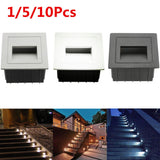 85-265V 2W Outdoor Wall Plinth Recessed Stair Step Hall Lamp Corner Deck Lights