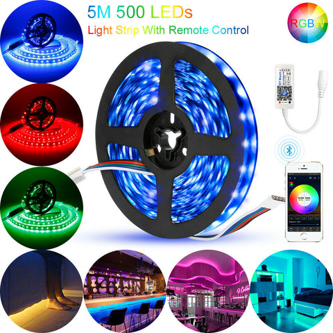 5M RGB/RGBW 5050 SMD LED Stripe Leiste Streifen Band Bluetooth Controller Trafo