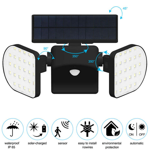 Solar Power Wall Lights Outdoor Garden Lamp 56 LEDs PIR Motion Sensor Waterproof