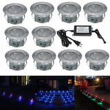 "FVTLED Low Voltage 20pcs Multi-color RGB LED Deck Lights Kit 1-3/4"" Stainless Steel Recessed Wood Outdoor Yard Garden Decoration Lamp Patio Stairs Landscape Pathway Lighting"