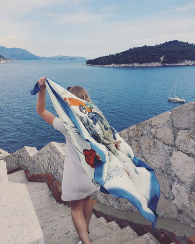 Blue 'Crustacean Silk' Silk Scarf, large square Silk Scarf with crab and tulip design from the Evolution Collection