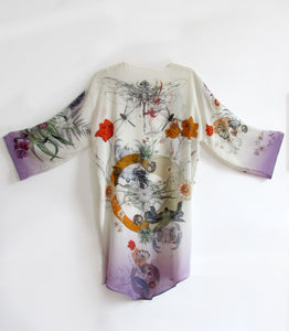Cream 'Evolution' Silk Kimono Jacket sixe L/XL with unique botanical illustrations- luxury lounging or evening wear