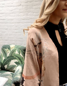 Luxury 'Mirage' Silk Kimono Jacket, handmade and unique illustrations- luxury lounging or evening wear by Alice Acreman Silks