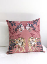Load image into Gallery viewer, Blush pink Tiger Cushion 'Tigra' square Cushion made from Vegan Suede 45x45cm