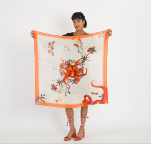 Orange Silk Scarf 'Oracle Silk' is Hand-painted, square Silk Scarf from the Evolution Collection by Alice Acreman silks